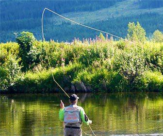 El lanzamiento para la pesca con mosca