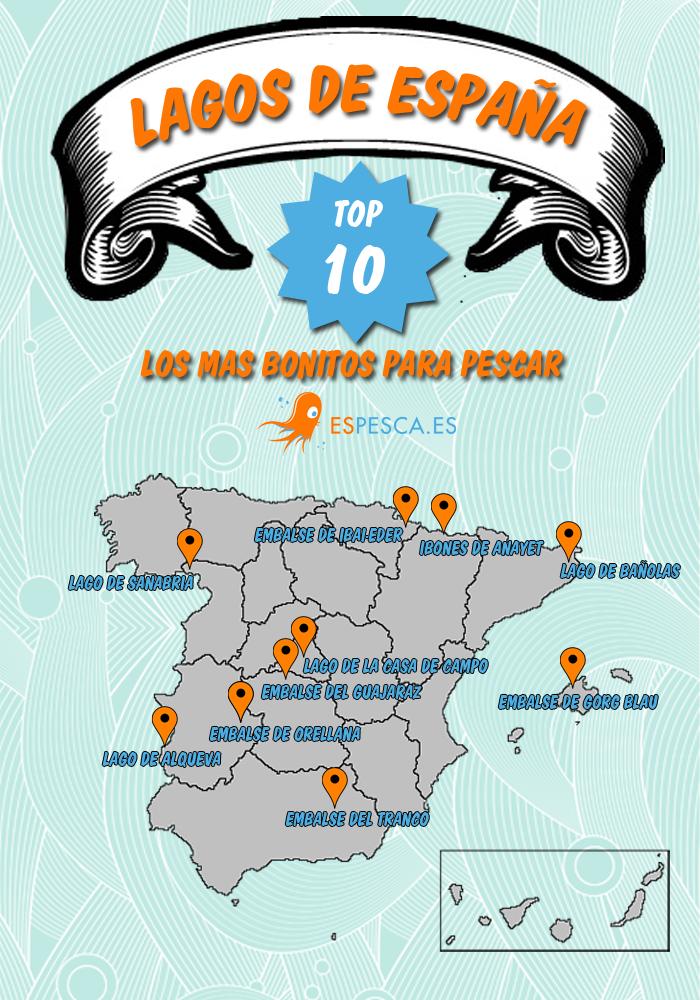 Infografia-10-lagos-mas-bonitos-para-pescar-de-España-Todo-para-la-pesca