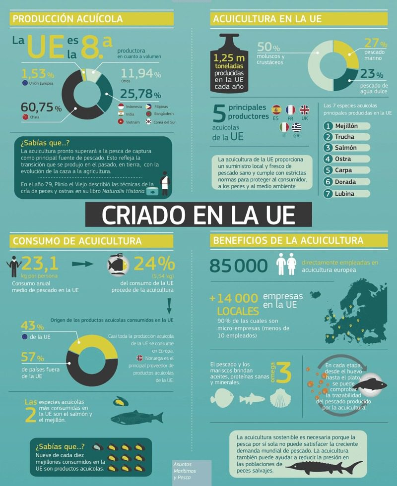Infografia acuicultura en la Unión Europea