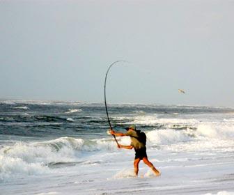 Lanzamiento caña surfcasting