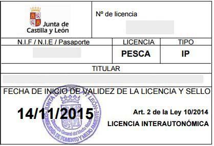Licencia de pesca Castilla y León