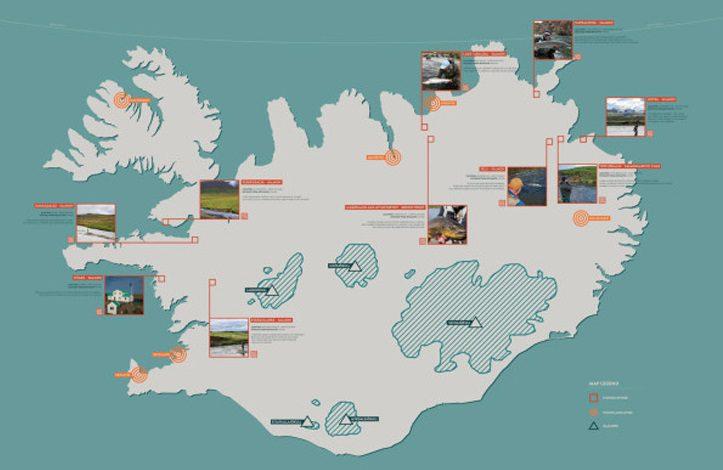 Mapa: Ríos y zonas de pesca de Islandia