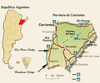 Mapa mejores lugares pescar dorados en Argentina