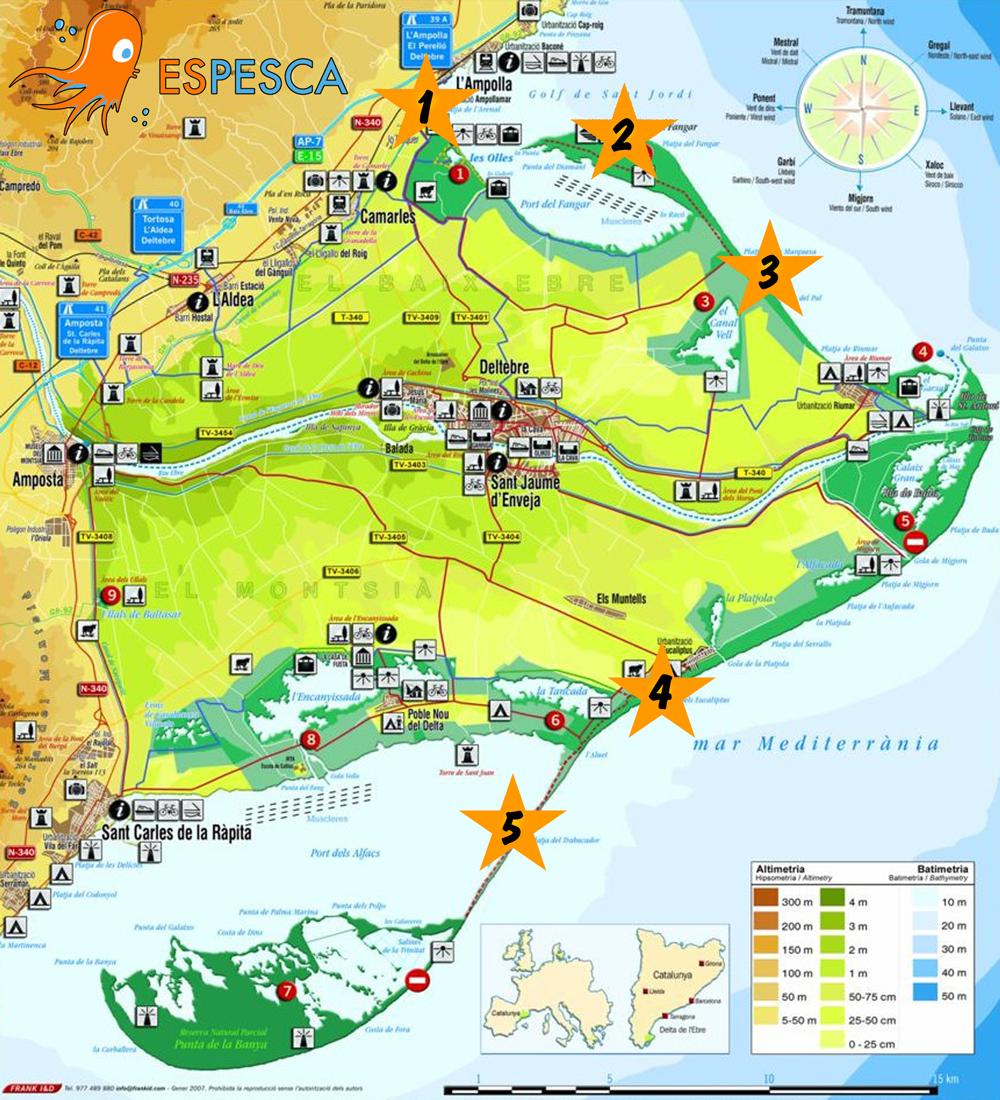 Mapa mejores playas del Delta del Ebro para la pesca surfcasting - Todo para la pesca