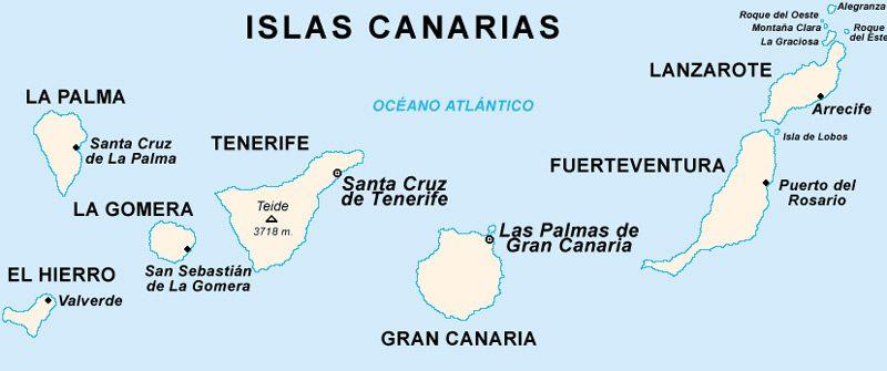 Mapa pesca Islas Canarias