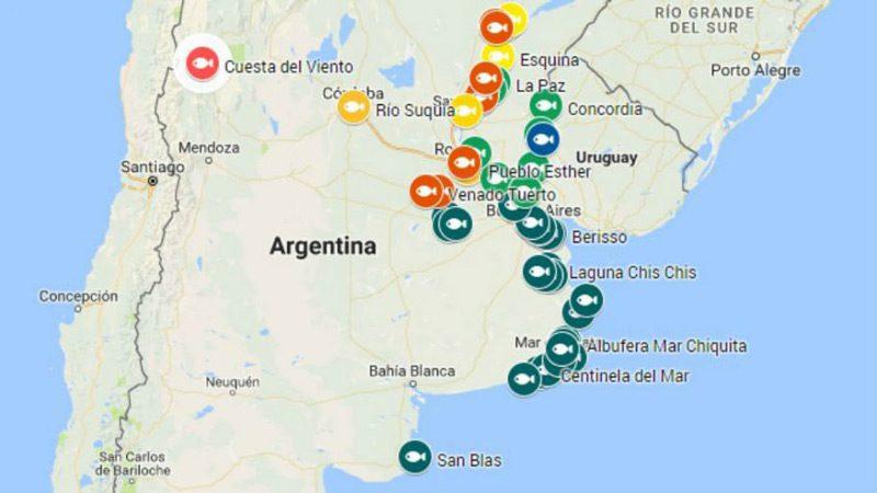 Mapa zonas de pesca deportiva Argentina