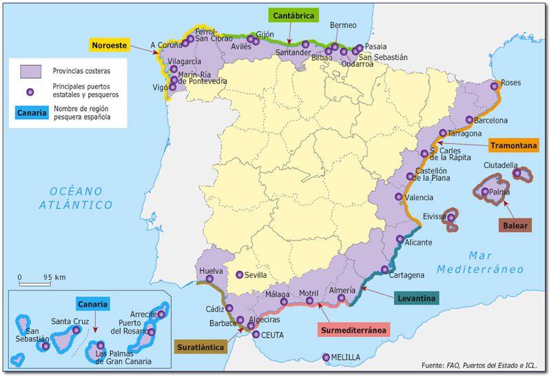 Mapa zonas de pesca en España