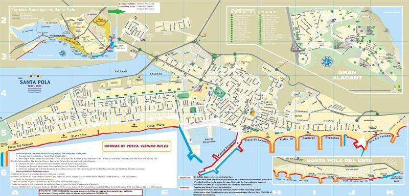 Mapa zonas de pesca espigones Santa Pola
