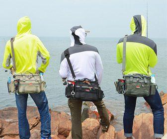 Pescando con mochila bolsa de pesca