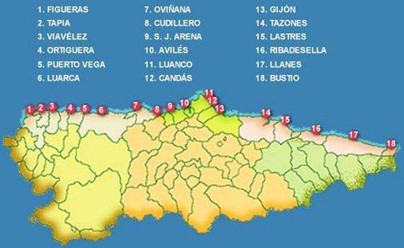 Zonas de pesca en Asturias